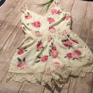 Cute white lace romper w/ pink rose/floral pattern